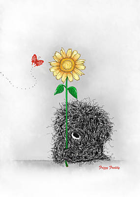 Painting - Frizzy Freddy- A Sunflower Just For You by Sannel Larson