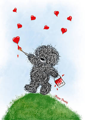 Painting - Frizzy Freddy- Painting Hearts Just For You by Sannel Larson