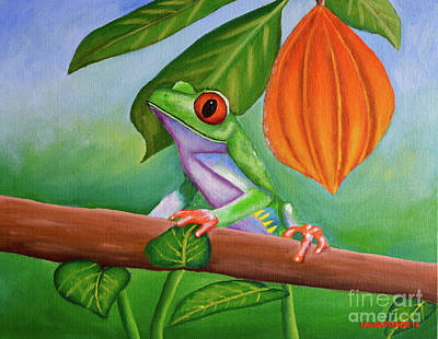Painting - Frog And Cocoa Pod by Laura Forde