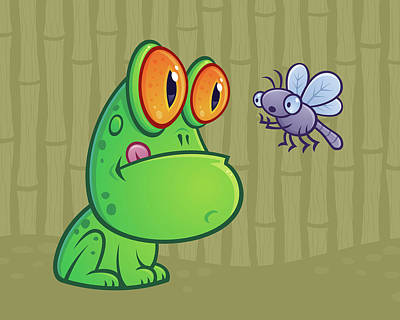 Animals Digital Art Royalty Free Images - Frog and Dragonfly Royalty-Free Image by John Schwegel