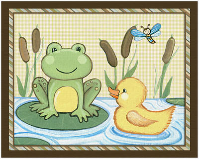 Custom Studio Painting - Frog And Duck by Cheryl Marie