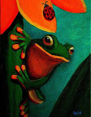 Frog And Ladybug Art Print by Nick Gustafson