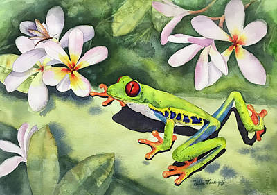 Painting - Frog And Plumerias by Hilda Vandergriff