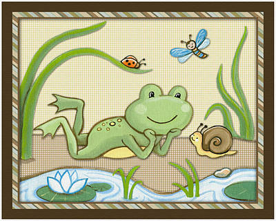 Custom Studio Painting - Frog And Snail by Cheryl Marie