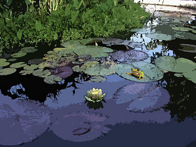 Frogs Photograph - Frog And The Water Lily by Arline Wagner