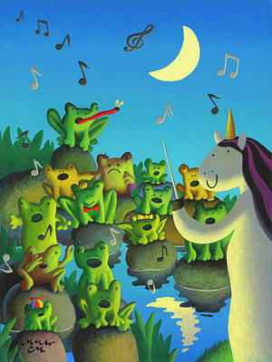 Wall Art - Painting - Frog Choir by Chris Miles