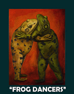 Embrace Painting - Frog Dancers With Lettering by Leah Saulnier The Painting Maniac