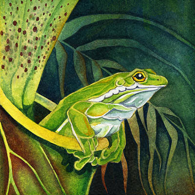 Frog In Pitcher Plant Art Print