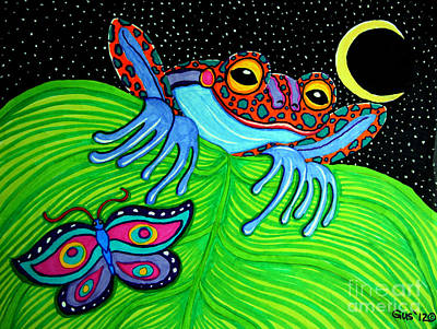 Frogs Mixed Media - Frog Moon And Butterfly by Nick Gustafson