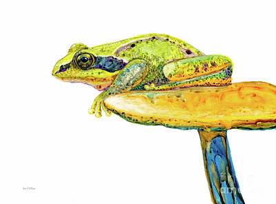 Frog Sitting On A Toad-stool Art Print