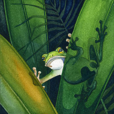 Painting - Frog Small Peek by Lyse Anthony