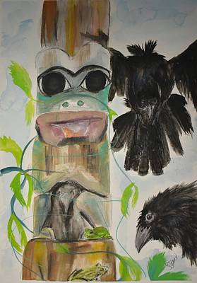 Painting - Frog Totem by Susan Snow Voidets