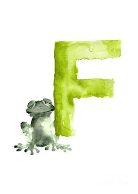 Amphibians Painting - Frog Watercolor Alphabet Painting by Joanna Szmerdt