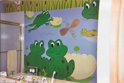 Painting - Froggie Mural by Anna Villarreal Garbis