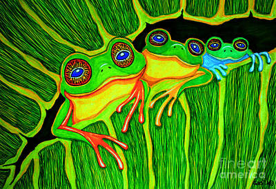 Frogs Drawing - Froggie Trio by Nick Gustafson