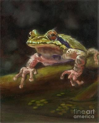 Froggie Went A Courting Art Print by Lorraine Bushek
