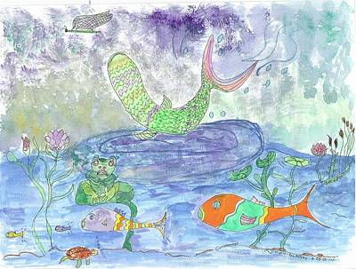 Froggy Delight And Fly Fishing Art Print