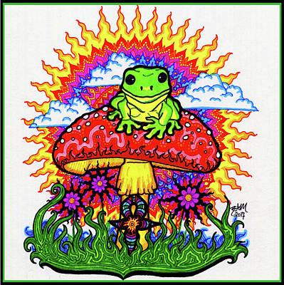 Drawing - Froggy For Mukunda by Baruska A Michalcikova