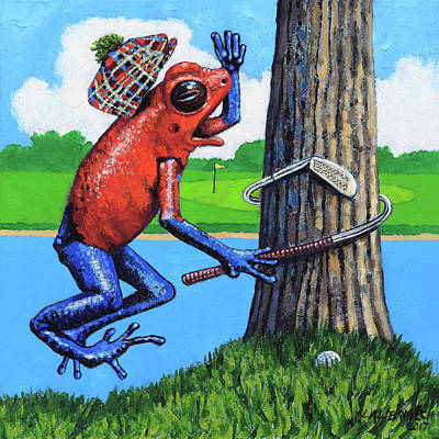 Painting - Froggy Needs Anger Management by John Lautermilch