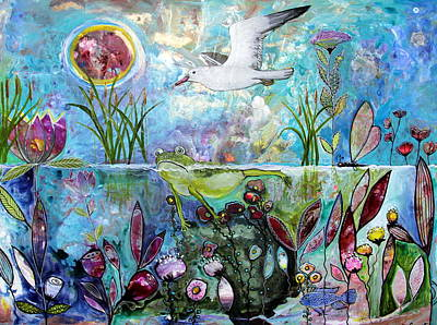 Wall Art - Painting - Froggy Wanders Downstream by Carol Iyer