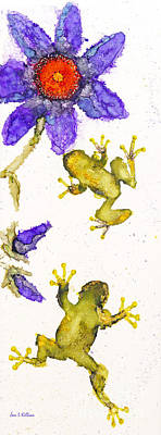 Painting - Frogs And Flowers by Jan Killian