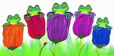 Digital Art - Frogs And Tulips by Nick Gustafson