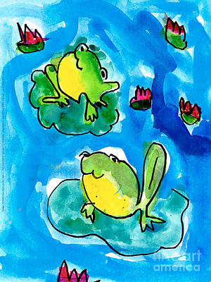 Painting - Frogs by Elyse Bobczynski Age Five