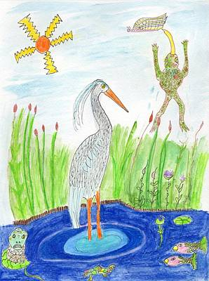 Painting - Frogs, Heron, Pond, Sun  by Helen Holden-Gladsky