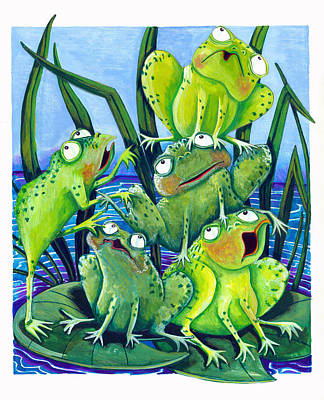 Lilly Pond Painting - Frogs by Ilene Richard