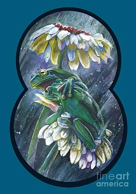 Frogs- Optimized For Shirts And Bags Art Print by Michael Volpicelli