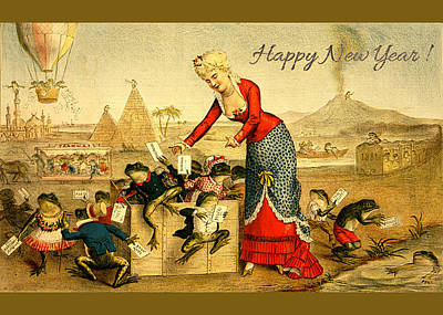 Photograph - Card New Year Frogs by Robert G Kernodle