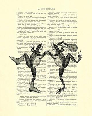 Frogs With Mandolin Music Print Vintage Animals Illustration Art Print by Madame Memento
