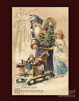 Frohe Weihnachten Vintage Greeting Art Print