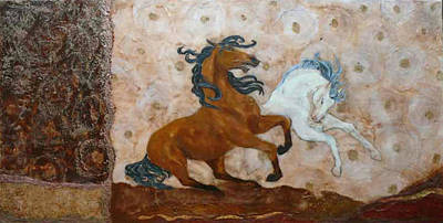 Encaustic Horse Painting - Frolic by Gabrielle England