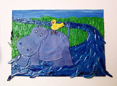 Hippopotamus Mixed Media - Frolic With Hippo And Bird by Sarah Swift