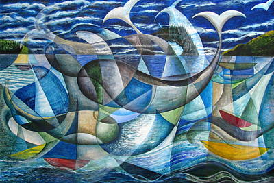 Painting - Frolicking Whales by Douglas Pike