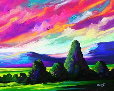 Brilliant Sky Painting - From A Distance by Anthony Mwangi