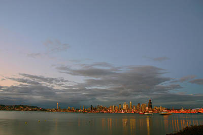 Photograph - From Alki - Cloudy Night by Brian O'Kelly