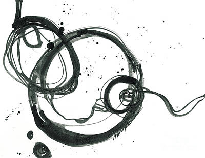 Black Ink Lines Painting - From Beginning To End - Revolving Life Collection - Modern Abstract Black Ink Artwork by Patricia Awapara