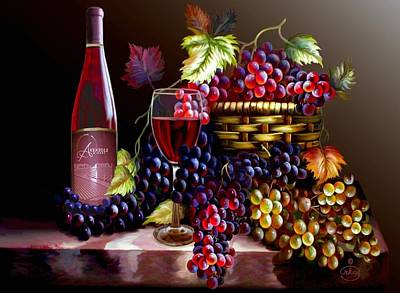 Wine Barrel Painting - From Grapes To Wine by Ron Chambers