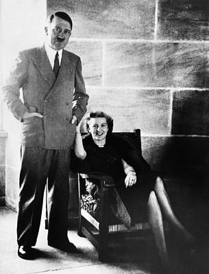 Adolf Photograph - From Left, Adolf Hitler, Eva Braun by Everett