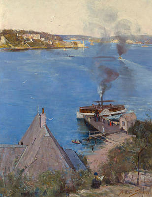 Australian Landscape Painting - From Mcmahon's Point - Fare One Penny  by Arthur Streeton