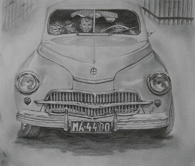 Headlight Drawing - From My Childhood by Maria Woithofer