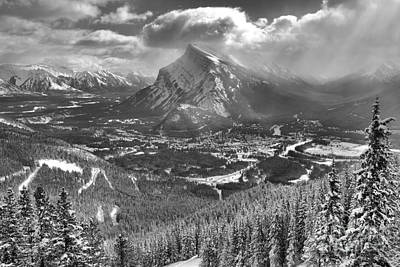 Photograph - From Norquay To Rundle Black And White by Adam Jewell