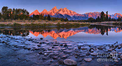 Photograph - From River Rocks To Glowing Teton Peaks by Adam Jewell