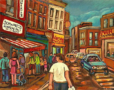 Montreal Cityscenes Painting - From Schwartz's To Warshaws To The  Main Steakhouse Montreal's Famous Landmarks By Carole Spandau  by Carole Spandau
