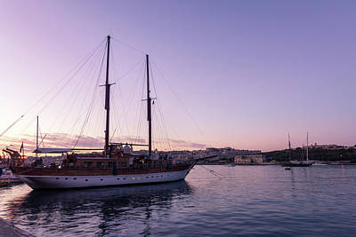Photograph - From Soft Amethyst To Ultra Violet - Maltese Tall Ship At Sunrise by Georgia Mizuleva