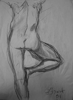 Male Nude Drawing Drawing - From The Back - Male Nude by Francine Frank