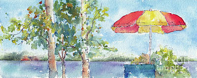 Painting - From The Deck Lakeside Waskesiu by Pat Katz