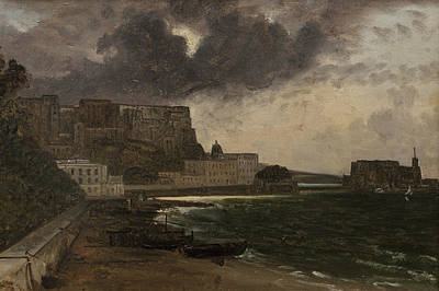 Painting - From The Harbour At Naples. Gathering Storm by Franz Ludwig Catel